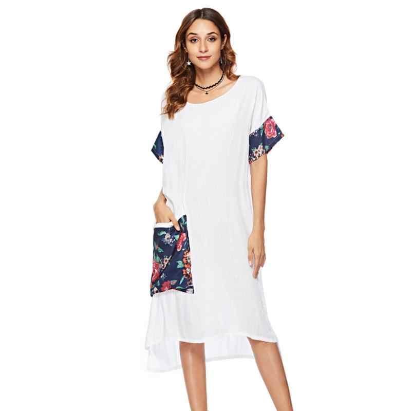 4494a32a93ce Women T Shirt Dresses Short Sleeve Elegant Round Neck Dress Irregular  Pocket Cotton Casual Summer Holiday