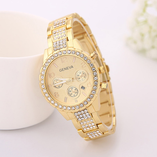 Luxury Rhinestone Couple Quartz Watches Crystal Stainless Steel Strap Lover Wris