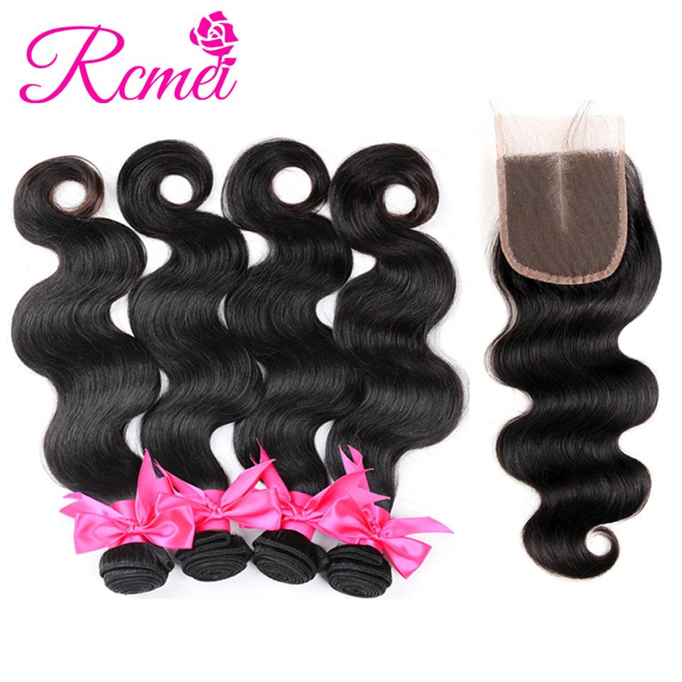 Rcmei Brazilian Body Wave 4 Bundles With Closure Non Remy Human Hair Bundles With Closure Brazilian Hair Bundles With Closure