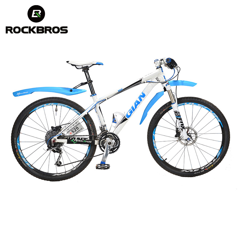 ROCKBROS Bicycle <font><b>Fender</b></font> Mountain Cycling Front Rear LED Mudguard Set Bicycle Durable <font><b>Fenders</b></font> With LED Light Plastic Bike <font><b>Fender</b></font>