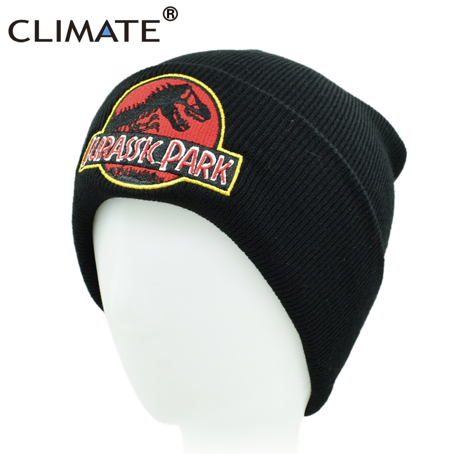 88ceebc03c0 CLIMATE Men Beanie Jurassic Park Winter Hat Jurassic World Knit Cap Hat  Dinosaur Black Beanie Hat