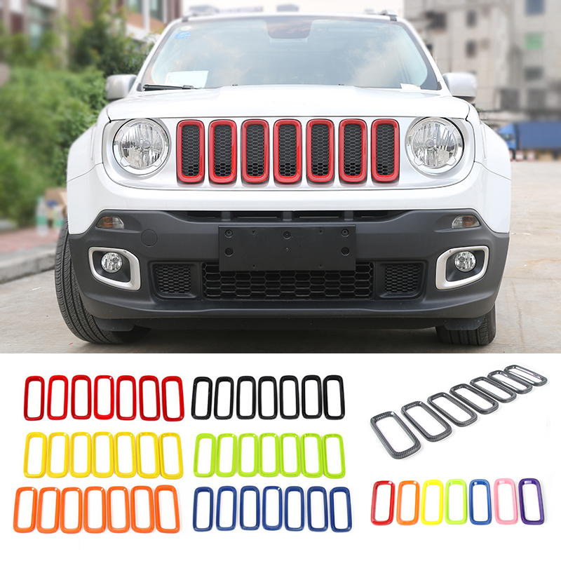 MOPAI Car Exterior Decoration ABS Insert Trim Front Grille Cover Stickers Fit For Jeep Renegade 2015 Up Car Styling abs exterior decoration car body door side molding trim styling for jeep renegade 2015 up