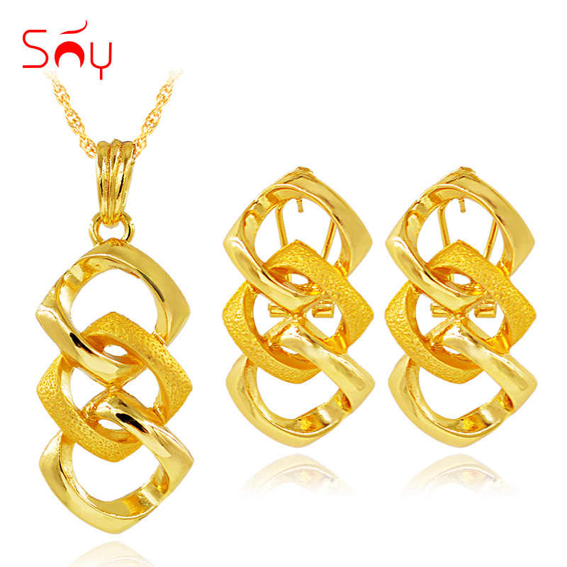Sunny Jewelry Trendy New Geometric Jewelry Sets Necklace Earrings Pendant For Party Daily Wear Jewelry Sets For Women Girls Gift