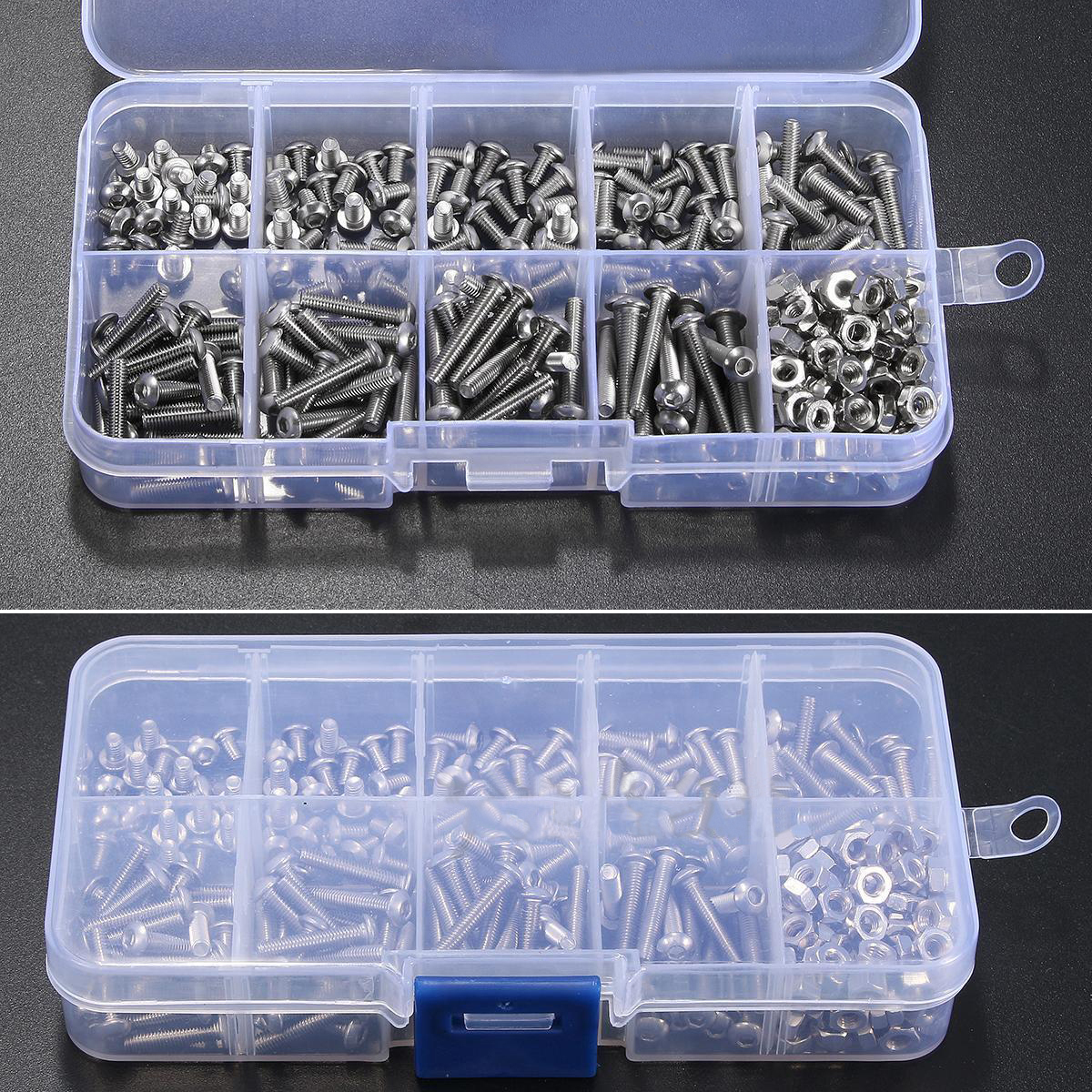 340pcs Assorted Stainless Steel M3 Screw 5/6/8/10/12/14/16/18/20mm with Hex Nuts Bolt Cap Socket Set 340pcs stainless steel m3 a2 hex screw kit assortment nuts bolt cap socket set 125x65x22mm with case
