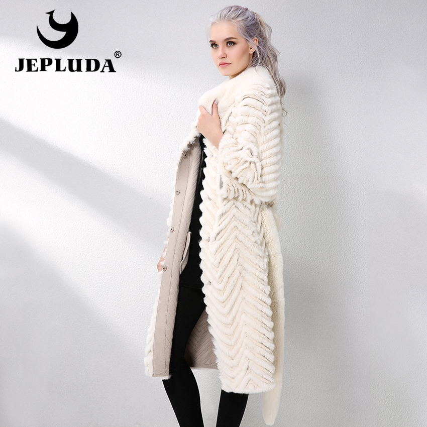 JEPLUDA Long Rex Rabbit Fur Coat With Knitted Lining Wool Natural Real Fur Coat Autumn-Winter Genuine Leather Jacket Women Parka