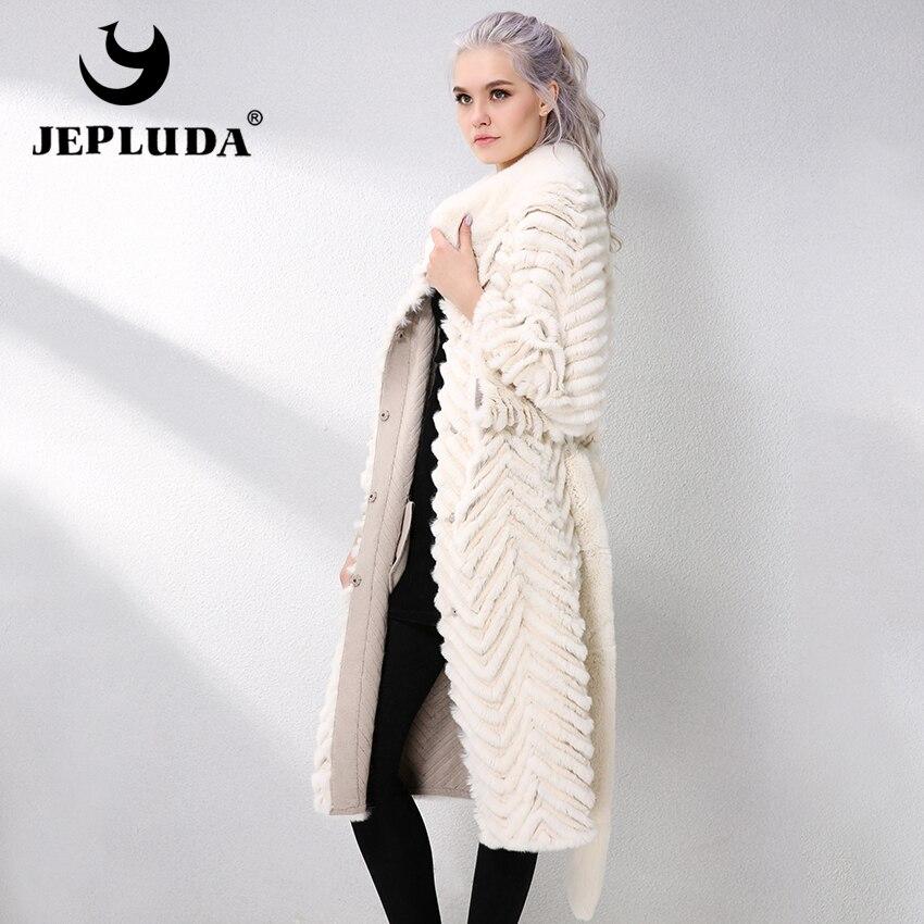 JEPLUDA piel de conejo Rex largo con forro de punto lana abrigo de piel Real Natural Otoño-Invierno chaqueta de cuero genuino mujeres Parka