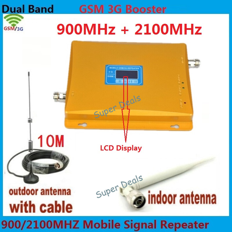 LCD Display 3G W-CDMA 2100MHz + GSM 900Mhz Dual Band Mobile Phone Signal Booster , Cell Phone Signal Repeater + Antenna + CableLCD Display 3G W-CDMA 2100MHz + GSM 900Mhz Dual Band Mobile Phone Signal Booster , Cell Phone Signal Repeater + Antenna + Cable