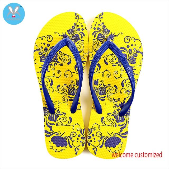 80a74ebdd8c775 Yellow flower pattern of DIY men flip-flops Eva material look comfortable  leisure welcome custom