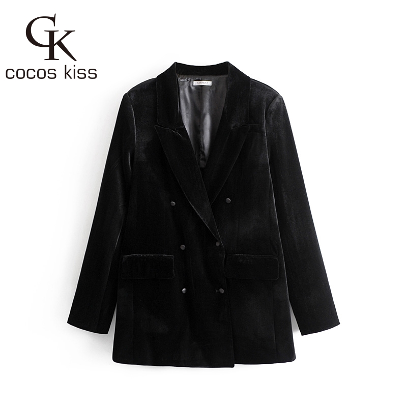 2018 Comfortable Europe Style Button Casual Comfortable Elegant Black Three Size Cool Wonderful Simple Womens Coat Blazers