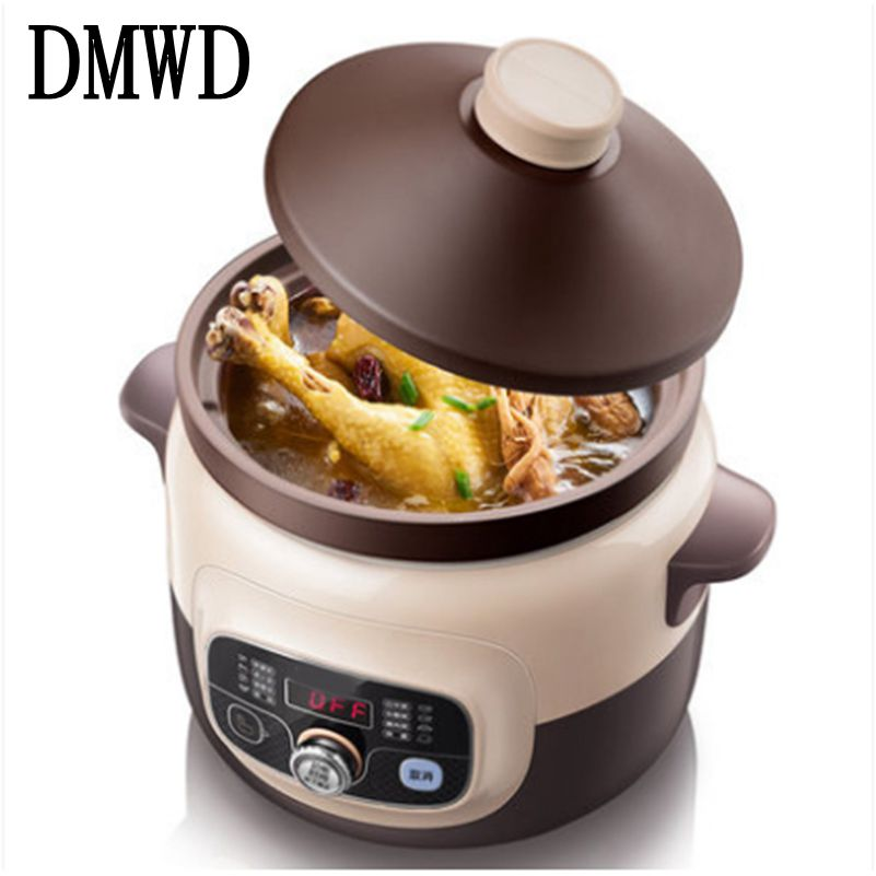 DMWD Electric Slow Cooker Multifunction porridge Stew hotpot Automatic Purple Sand cooking Machine casserole Fire Stock Pots 4L 220v 600w 1 2l portable multi cooker mini electric hot pot stainless steel inner electric cooker with steam lattice for students