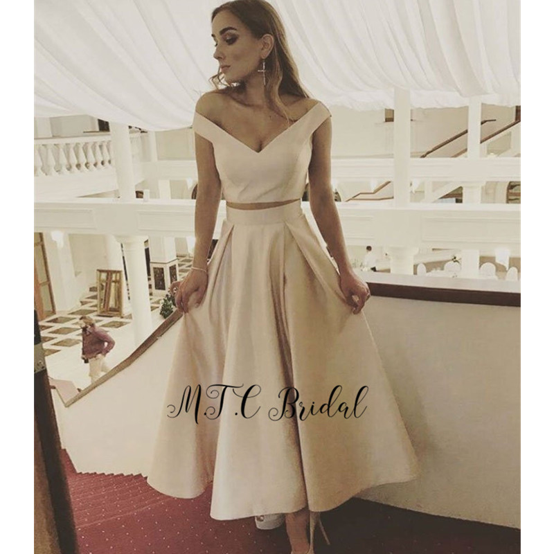 2 Piece   Prom     Dresses   V Neck Off The Shoulder A Line Light Champagne Satin Ankle Length Short Evening Party Gowns 2019 New