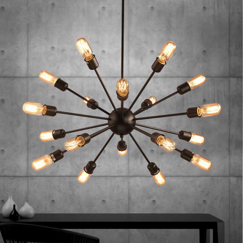 Black color loft vintage dinning room pendant lamp cafe light e27 110V 220V  with led bulbs indoor decoration lighting nordic wrought iron simple modern pendant lamp with led bulb dinning room light cafe lamp e27 110v 220v free shipping