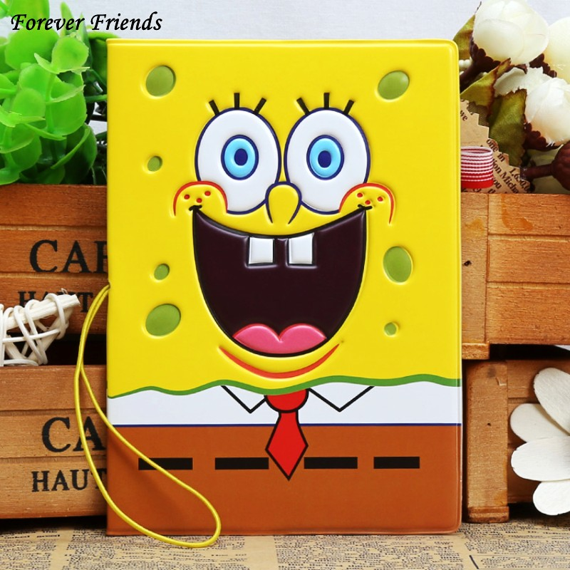 ForeverFriendsCartoon 3D Stereo Spongebob Pssport Holder PVC Passport Cover Passport Identify Card Documents Abroad Travel Case