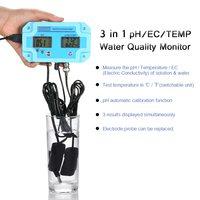New Digital 3 in 1 Water Quality Monitor Detector with EC Electrode pH/EC/TEMP Meter LCD Tri Meter Multi function Tester