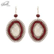Badu Handmade Wholesale Oval Gold Hollow Filigree Crystal Dangle Earrings for Women Vintage Statement Jewelry Party Earring