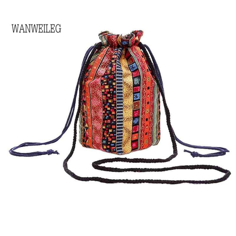 Canvas Floral Bucket Bag Handbag Printing Messenger Bag Trend Printing Drawstring Shoulder Bag Bolsa Feminina @P