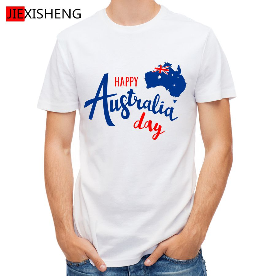 Design t shirt online australia - 2017 Happy Australia Day Letter Design Printed T Shirt Men Short Sleeve Tops Tees High Quality Men S Clothes Gl237