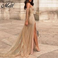 Max Spri 2019 New Sexy Off Shoulder Long Sleeves Mesh Apricot Maxi Dress Slit Sweetheart Neckline Sequins Sparkling Outfit