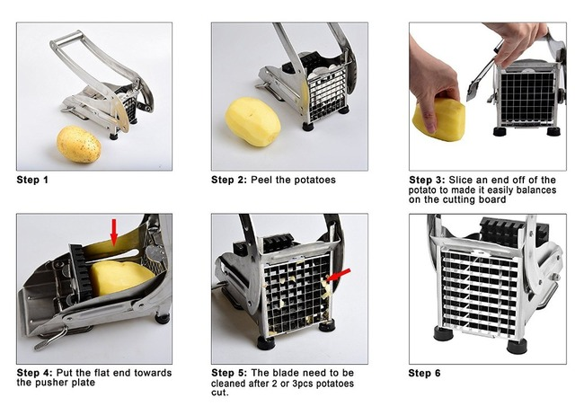 French Fry Cutter with 2 Blades Stainless Steel Potato Slicer Cutter Chopper Potato Chipper Cutting Machine Maker Kitchen Gadget