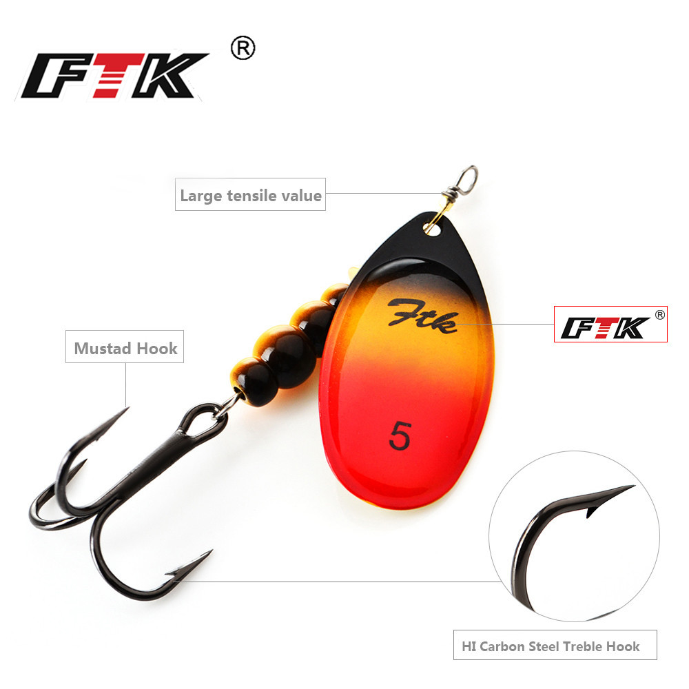 FTK 1#-5# Similar As  Copper Spinner Bait Fishing Lure With Treble Hooks Hard Baits Spoon