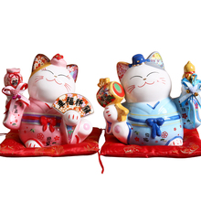 5 inch Ceramic Lucky Cat Piggy Bank Ornaments Creative Home Decoration Feng Shui Decor Praying Lucky Cat Crafts Wedding Gifts