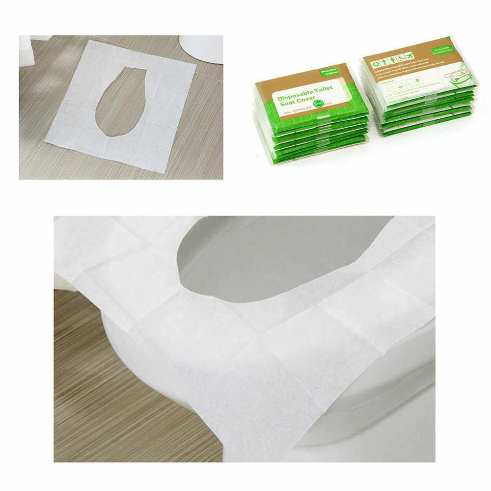 10 sztuk jednorazowa nakładka na toaletę Mat przenośne 100% wodoodporna bezpieczeństwa deska klozetowa Pad dla podróży/Camping łazienka akcesoria