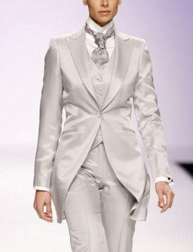 Silver Gray Elegant Women Suit Tailor Made 3 Piece Long Jacket Tailcoats Ladies Event StageTuxedo B260