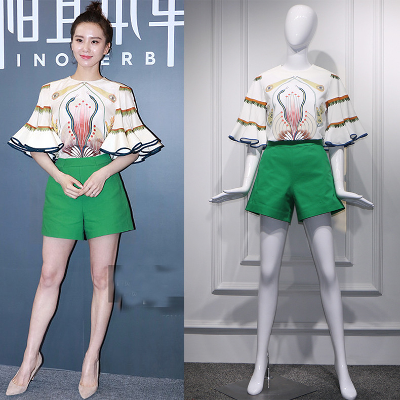 Street Trending Big Flare Ruffled Sleeve Blouse Top and Green Shorts Women Casual Summer Clothing Set