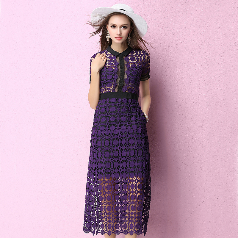 Runway high quality 2017 women spring summer dress Hollow Out Lace Patchwork perspective Sexy slit Long Dress Short sleeve OM165