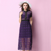 Runway High Quality 2017 Women Spring Summer Dress Hollow Out Lace Patchwork Perspective Sexy Slit Long