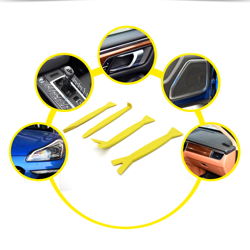 Professional 4Pcs Automobile Audio Door Clip Panel Trim Tool Set Car Dash Removal Tools Puller Removal Trim Pry