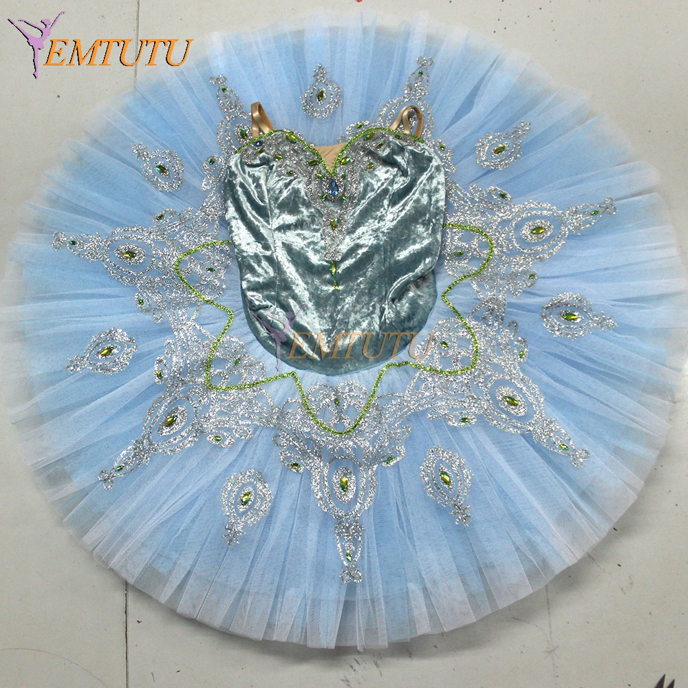 Picture of Adult Blue Professional Ballet Tutu Pancake Classical Ballet Tutus Performance Stage Competition Ballerina Stage Costumes Women