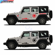 Autocollants de voiture pour Jeep Wrangler montagne gamme autocollant armée étoile graphiques vinyle décalcomanies Automobile carrosserie décor autocollants(China)