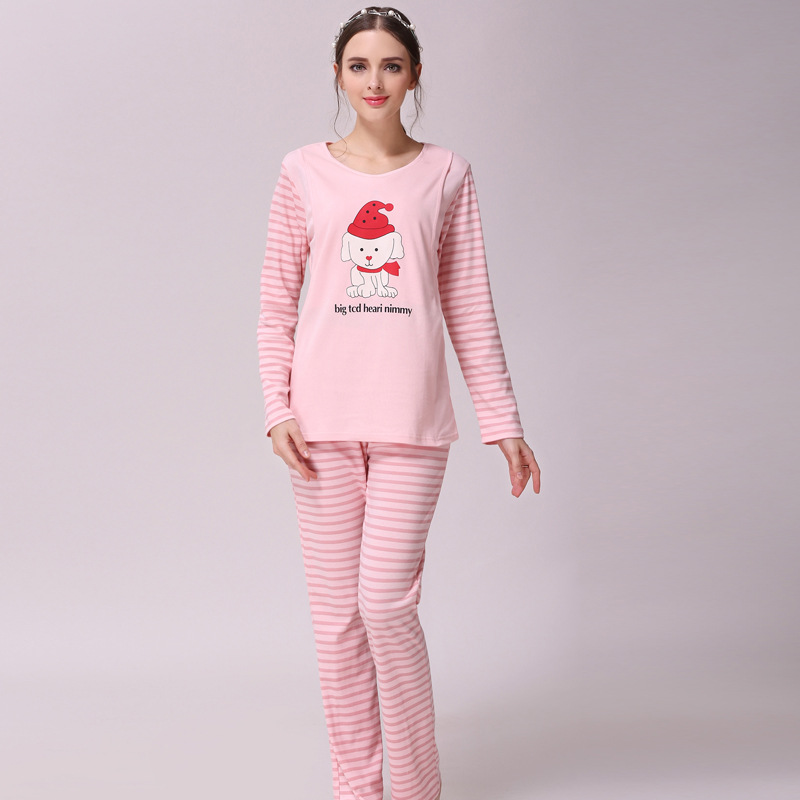 Maternity Nursing Pajamas Long Sleeve O-Neck With Breastfeeding Openning Design Women Sleepwear Clothes Set Pregnancy Sleepwear
