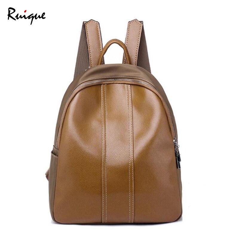 Ruique nouveau haute qualité PU cuir sac à dos filles Simple décontracté sac de voyage femmes mode Punk Style moyen taille sacs à dos