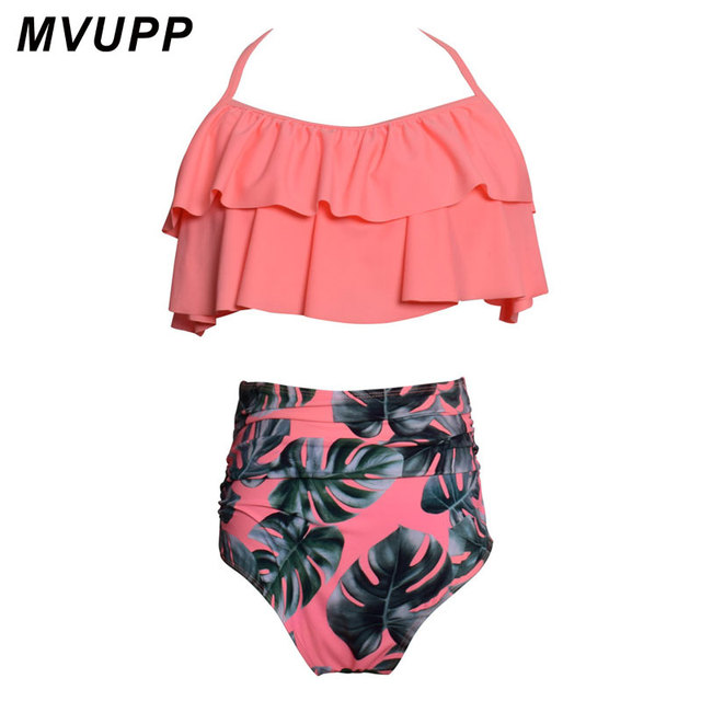 994d8190b5 MVUPP family costumes match swimwear Floral Bikini summer bathing suit High  Waist Flounce tops Bandage mommy and me clothes cute