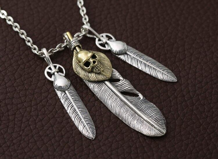 100% pur argent massif 925 fait à la main Style indien collier hommes femmes Cool Punk crâne plume en argent Sterling Thai argent bijoux - 4