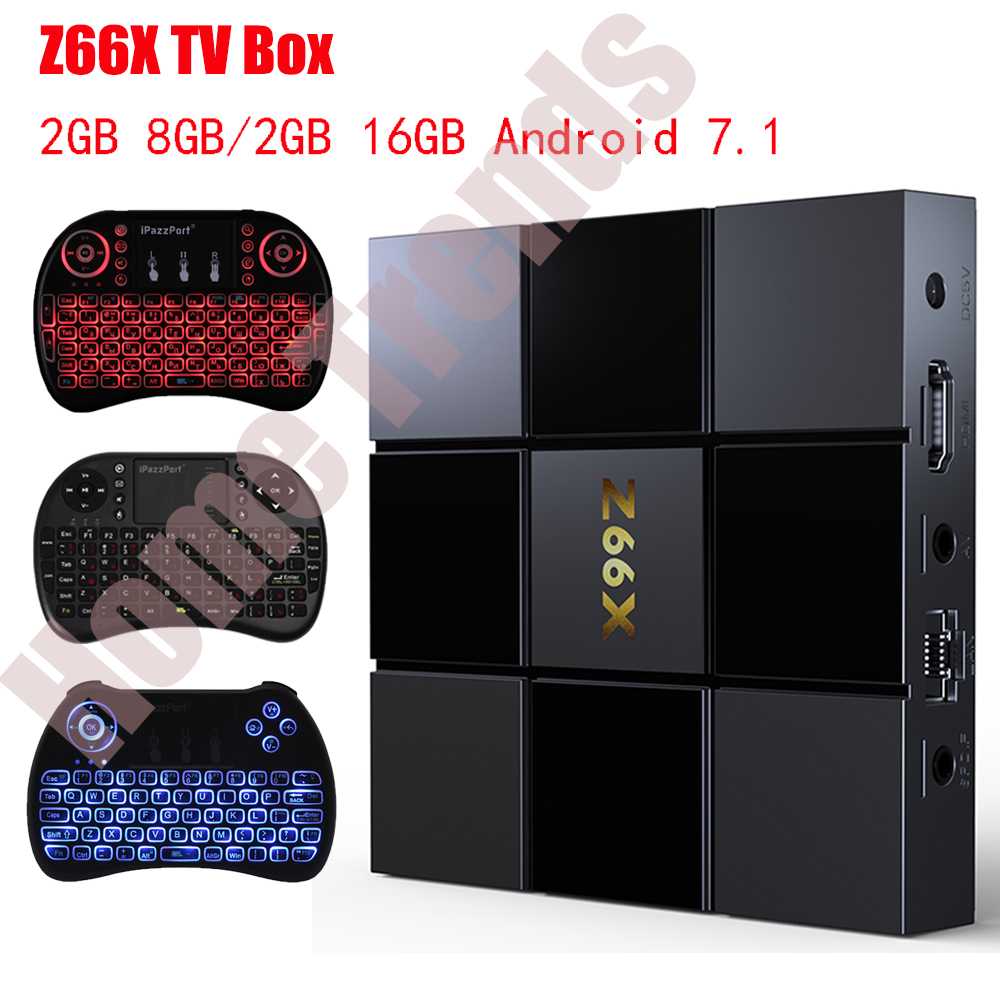 Z66X Z2 2GB RAM 16GB ROM Smart TV Box Android 7.1 ZX296716 Quad-Core Smart Box 2.4G WiFi 100M RJ45 3D Videos Set Top Box faux fur knitted bowknot snow boots