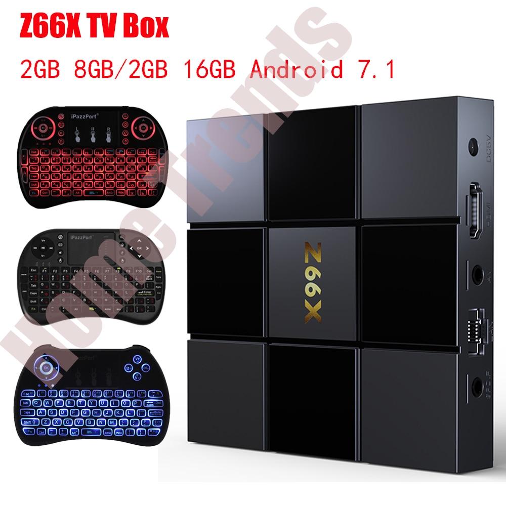 Z66X Z2 2GB RAM 16GB ROM Smart TV Box Android 7.1 ZX296716 Quad-Core Smart Box 2.4G WiFi 100M RJ45 3D Videos Set Top Box