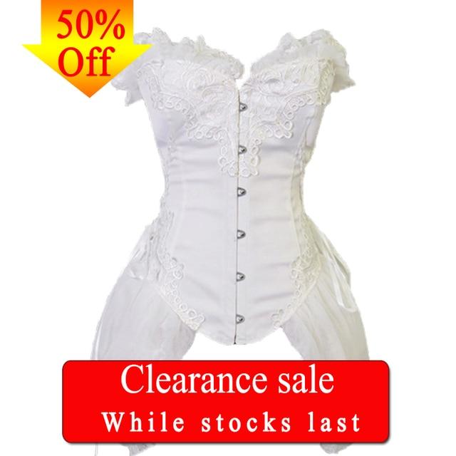 FLORATA beyaz Overbust bel eğitmen korseler elbise Steampunk gotik giyim Burlesque kostümleri kadınlar için 50% kapalı tasfiye satışı