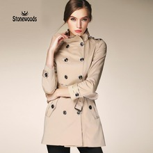 Trench Coat For Women European British Style Leisure Duster Coat plus Stand Collar Fashion Women's Coats Burderry Women