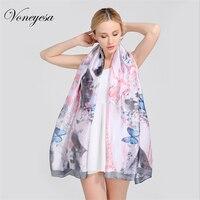 Voneyesa Newest Silk Scarf Women Spring Printed Butterfly Silk Scarves Fashion Summer Long Shawl Wraps And