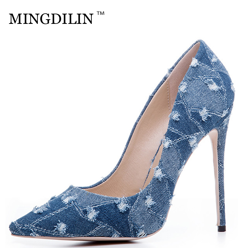 MINGDILIN Sexy Women's High Heels Shoes Denim Plus Size 33 43 Woman Shoes Blue Black Pointed Toe Wedding Party Pumps Stiletto 57mm gearbox geared stepper motor ratio 20 1 nema23 l 56mm 3a cnc router