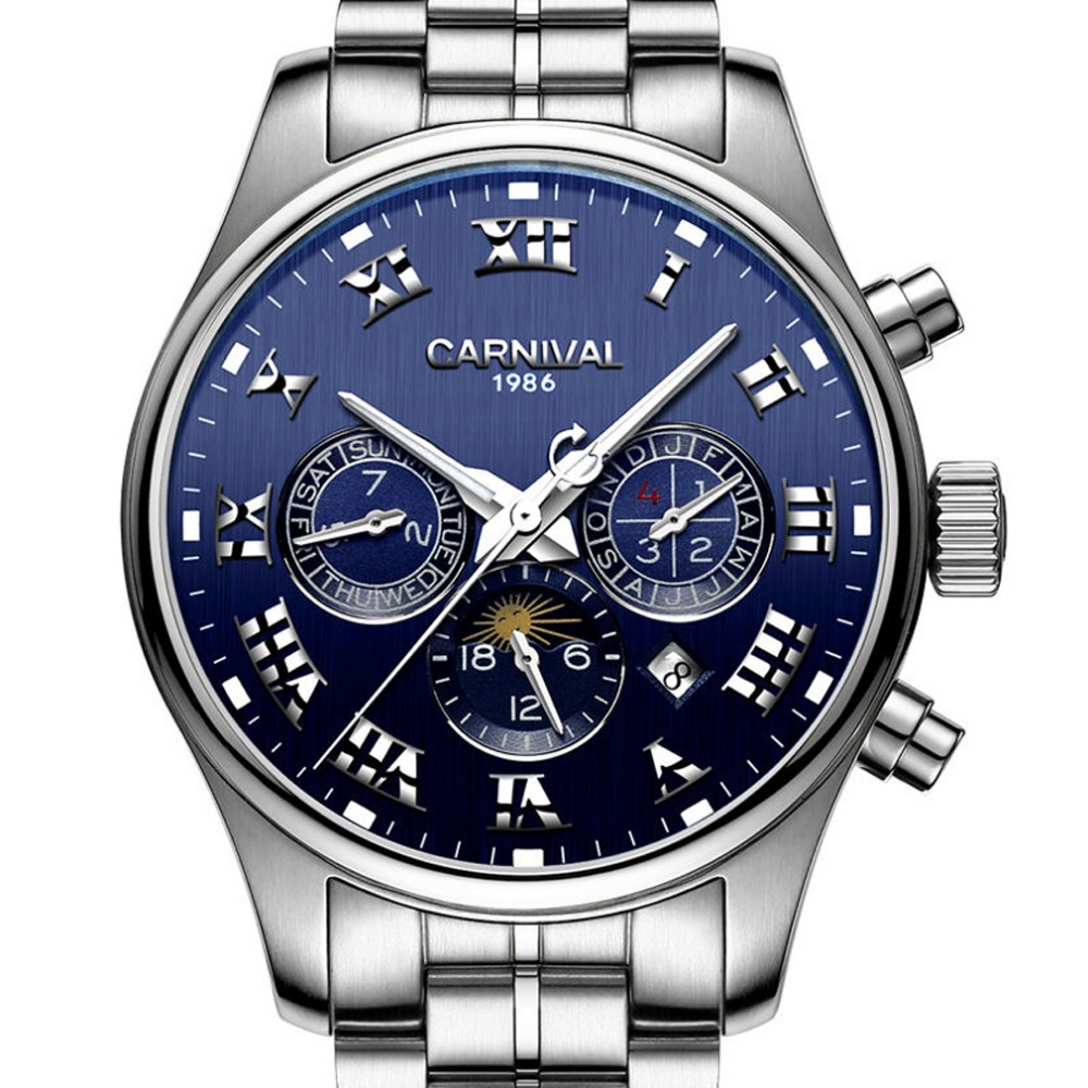 Carnival Mens Multifunction Dial Steel Watchband Automatic Self-Wind Mechanical Watch - silver bezel blue dialCarnival Mens Multifunction Dial Steel Watchband Automatic Self-Wind Mechanical Watch - silver bezel blue dial