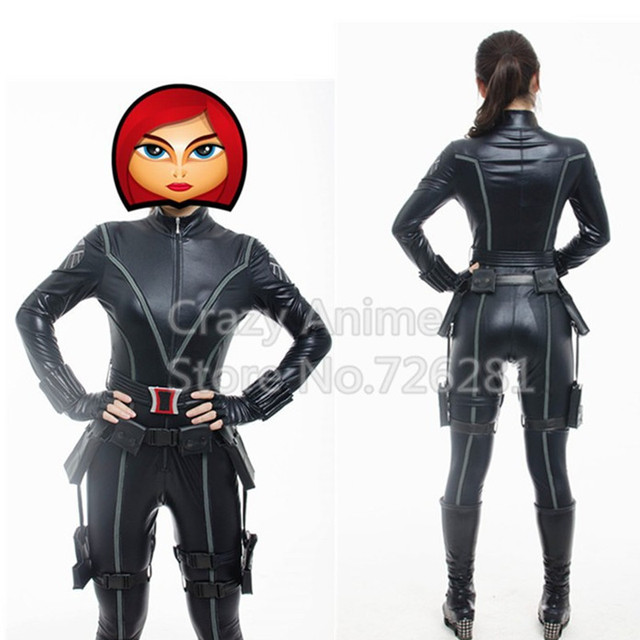 The Avengers Black Widow Costume Halloween Cosplay Costume Women Official Marvel Fancy Dress Party Sexy Black Jumpsuit Full Set 2