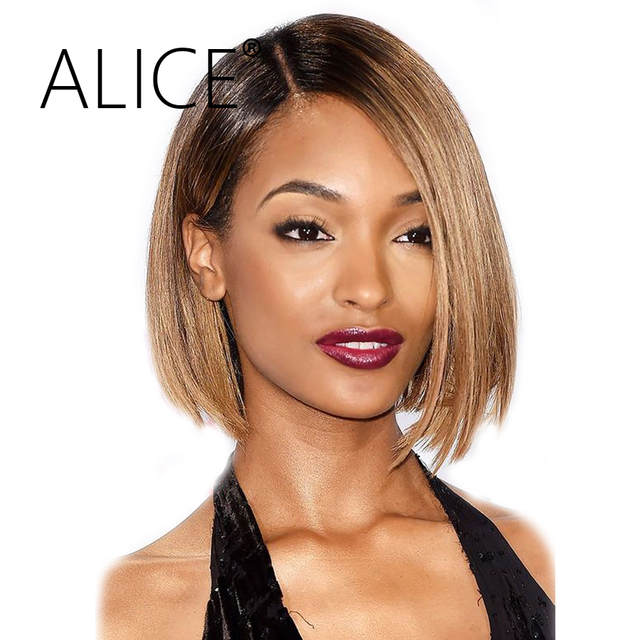 Alice Bob Lace Front Wigs Pre Plucked Straight Human Hair Wigs 130 Percents Density Remy Ombre Color Glueless Lace Front Human Hair Wigs by Alice