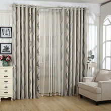 Faux Linen Europe Jacquard Thick Home Blackout Curtains for Living Room Window Bedroom Striped Tulle