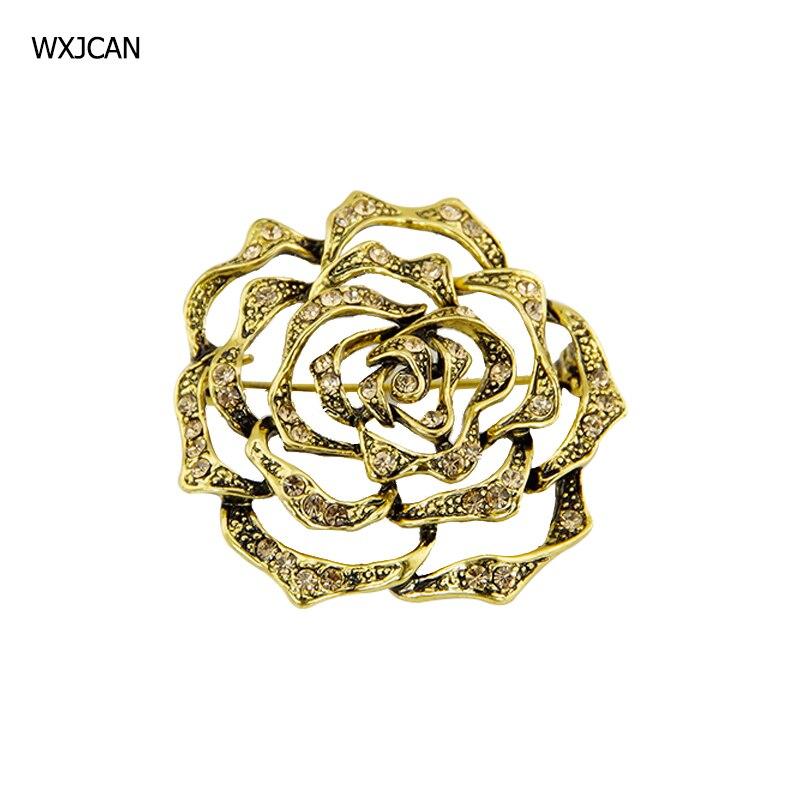 WXJCAN круглой формы резные полые цветок Брошь pin Винтаж желтый металл инкрустация стразами брошь и броши женские B5154