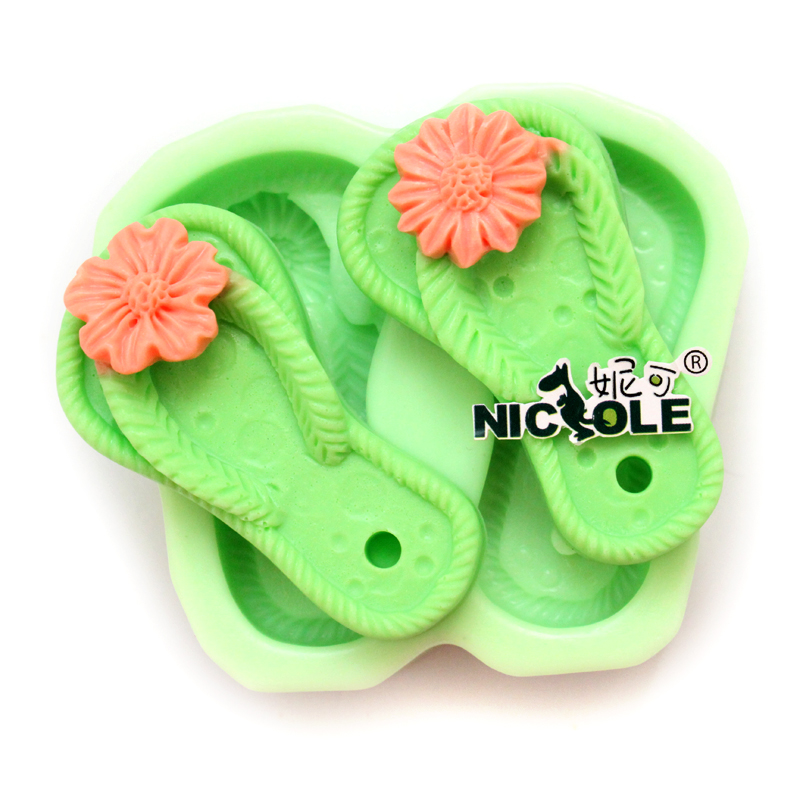 Nicole H0062 Silicone Soap Mold Mini Floral Slipper Shapes Craft Handmade Soap Making Mould