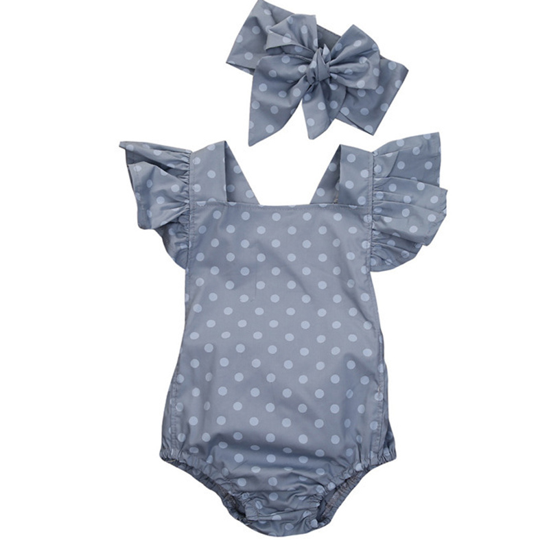 Baby Girls Clothes Sets Newborn Summer Polka Dot Romper + Headband Sleeveless Jumpsuit Baby Rompers Infant Roupas Bebe CL2022 summer newborn baby rompers ruffle baby girl clothes princess baby girls romper with headband costume overalls baby clothes